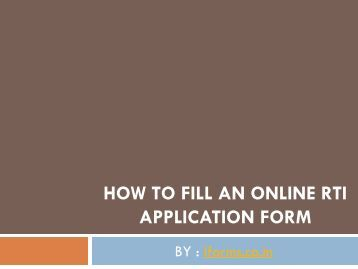 How to fill an online RTI Application form