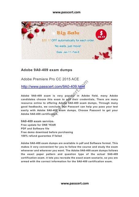 Adobe 9A0-409 exam dumps