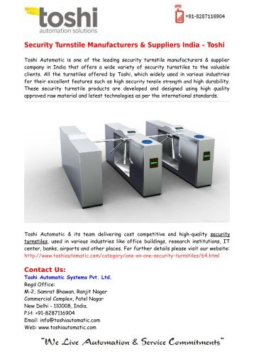 Security Turnstile Manufacturers & Suppliers India – Toshi
