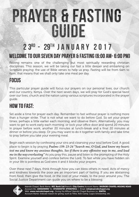 WELCOME TO OUR SEVEN DAY PRAYER & FASTING (6:00 AM- 6:00 PM