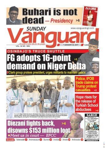 22012017 - OSINBANJO'S TRUCE SHUTTLE,  FG adopts 16 point demand on Niger Delta
