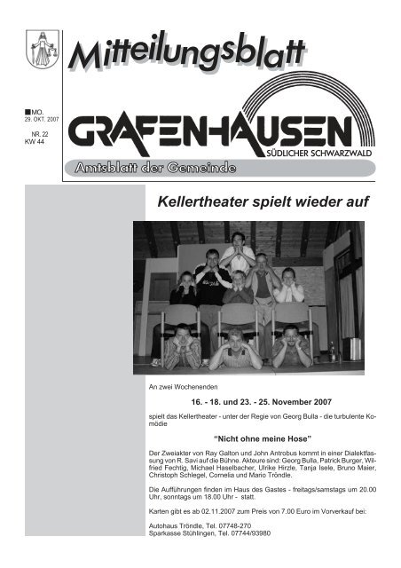 Kellertheater spielt wieder auf - Gemeinde Grafenhausen