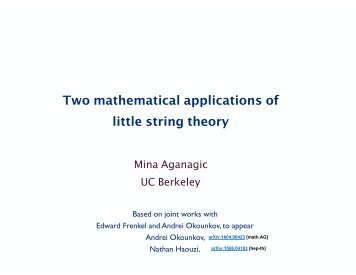 Two mathematical applications of little string theory