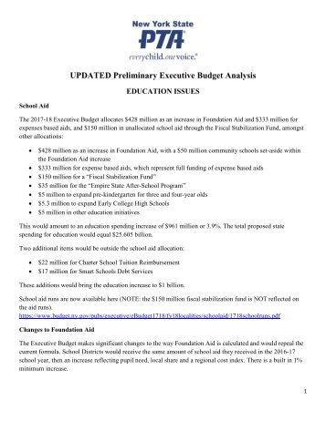 UPDATED Preliminary Executive Budget Analysis