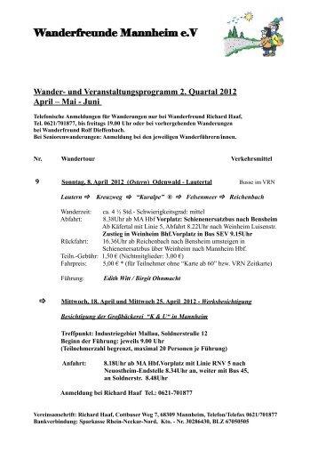 Wander- und Veranstaltungsprogramm 2. Quartal 2012 April – Mai