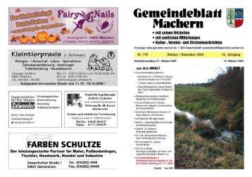 Amtsblatt Nr. 179 Oktober 2009 - Gemeinde Machern