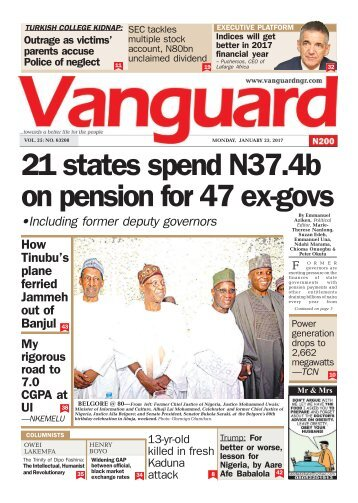 23012017 21 states spend N37.4b on pension for 47 ex-govs
