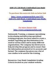 UOP LTC 328 Week 3 Individual Case Study Complaints