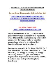 UOP MGT 210 Week 9 Final Project Best Practices Manual