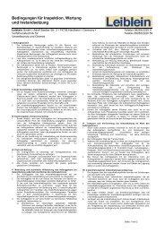 Bedingungen für Inspektion, Wartung und ... - Leiblein GmbH