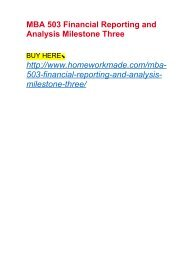 MBA 503 Financial Reporting and Analysis Milestone Three