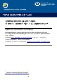 HOMELESSNESS IN SCOTLAND Bi-annual update 1 April to 30 September 2016