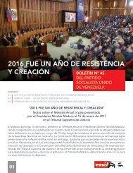 2016 FUE UN AÑO DE RESISTENCIA Y CREACIÓN