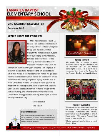 LBES Newsletter 2nd Quarter