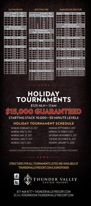 HOLIDAY TOURNAMENTS $15,000 GUARANTEED