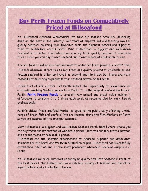 Buy Perth Frozen Foods on Competitively Priced at Hillseafood