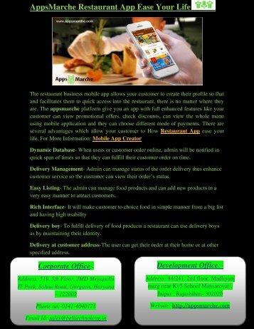 AppsMarche Restaurant App Ease Your Life