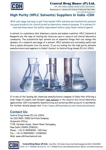 High Purity (HPLC Solvents) Suppliers In India