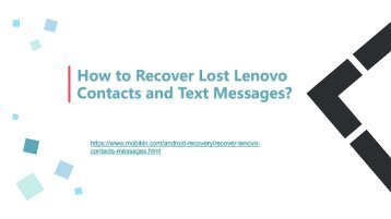 How to Recover Lost Lenovo Contacts and Text Messages?
