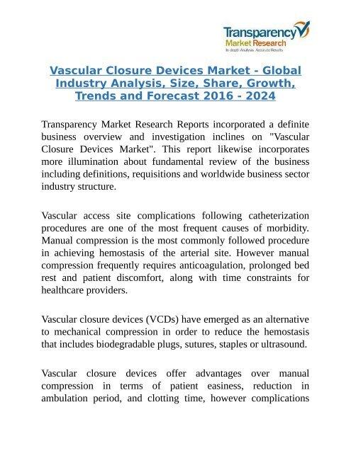 Global Vascular Closure Devices Market