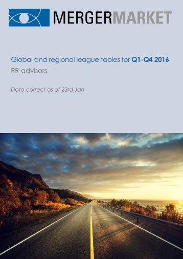 Global and regional league tables for Q1-Q4 2016 PR advisors