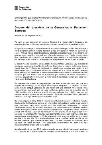 Discurs del president de la Generalitat al Parlament Europeu