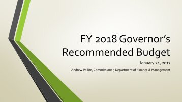 FY 2018 Governor's Recommended Budget