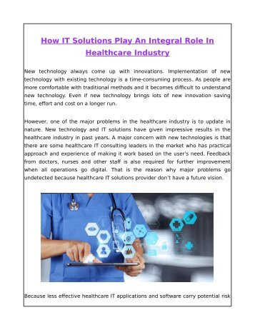 How IT Solutions Play An Integral Role In Healthcare Industry