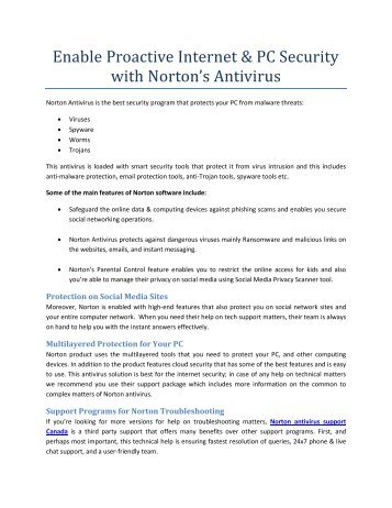 Enable Proactive Internet & PC Security with Norton's Antivirus(1)