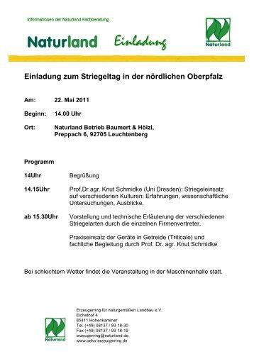 Einladung zum Striegeltag in der nördlichen Oberpfalz - Naturland