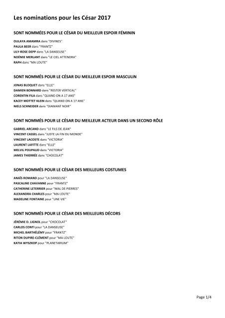 Les nominations pour les César 2017
