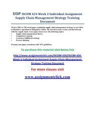 UOP ISCOM 424 Week 2 Individual Assignment Supply Chain Management Strategy Training Document