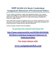 UOP ISCOM 424 Week 3 Individual Assignment Statement of Professional Ethics