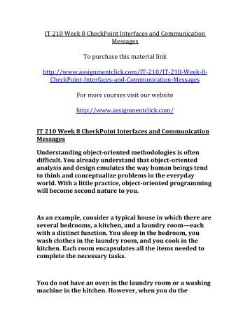 UOP IT 210 Week 8 CheckPoint Interfaces and Communication Messages