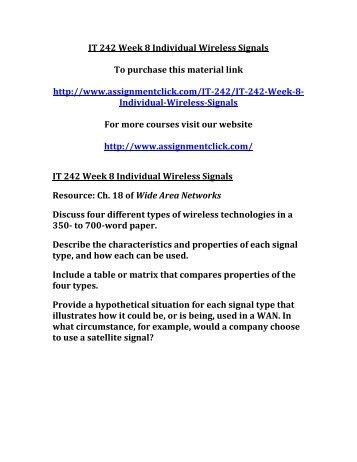 UOP IT 242 Week 8 Individual Wireless Signals