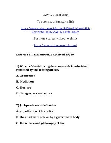UOP LAW 421 Final Exam