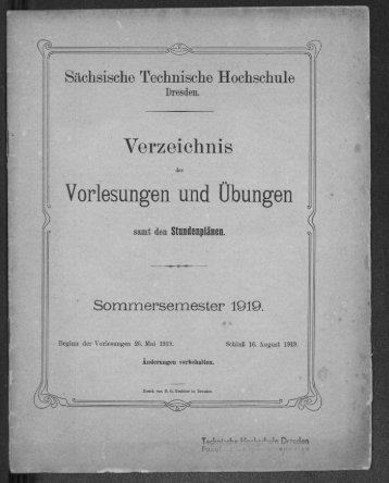 Verzeichnis der Vorlesungen und Übungen samt den Stundenplänen Sommersemester 1919