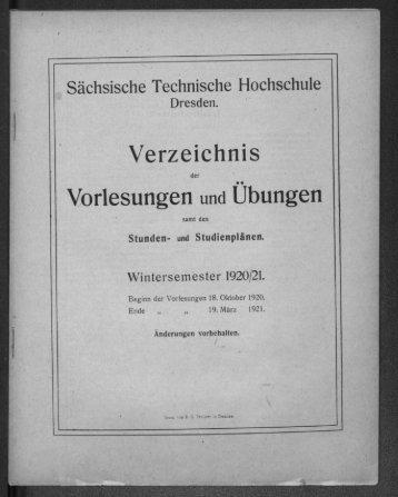 Verzeichnis der Vorlesungen und Übungen samt den Stunden- und Studienplänen Wintersemester 1920/21