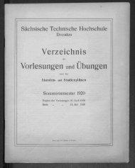 Verzeichnis der Vorlesungen und Übungen samt den Stunden- und Studienplänen Sommersemester 1920