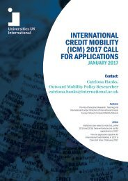 INTERNATIONAL CREDIT MOBILITY (ICM) 2017 CALL FOR APPLICATIONS