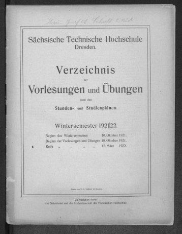 Verzeichnis der Vorlesungen und Übungen samt den Stunden- und Studienplänen Wintersemester 1921/22