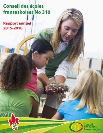 Rapport annuel 2015-16 du Conseil des écoles fransaskoises – Page i