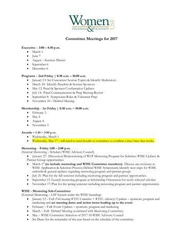 Committee Meetings for 2017