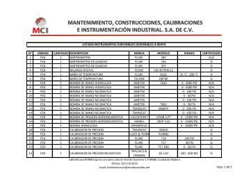 EQUIPOS DISPONIBLES