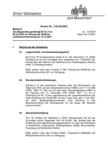 stadt grünberg der magistrat - Grußwort: Bürgermeister Frank Ide