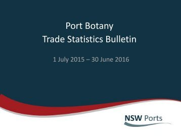 Port Botany Trade Statistics Bulletin