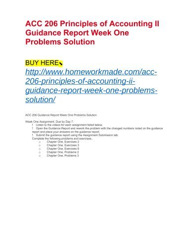 ACC 206 Principles of Accounting II Guidance Report Week One Problems Solution