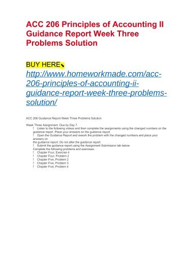 ACC 206 Principles of Accounting II Guidance Report Week Three Problems Solution