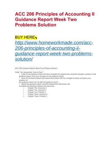 ACC 206 Principles of Accounting II Guidance Report Week Two Problems Solution