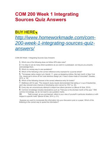 com 200 week 4 quiz Tutorials for question #00076675 categorized under communications and general communications.